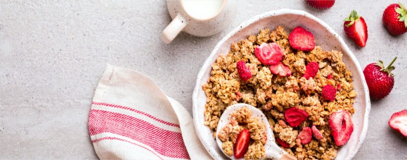 Bowl of breakfast cereal with freeze dried fruit