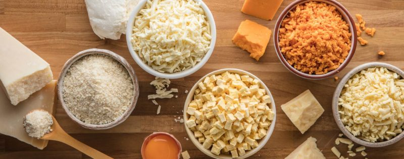 Selection of freeze dried dairy ingredients presented in bowls